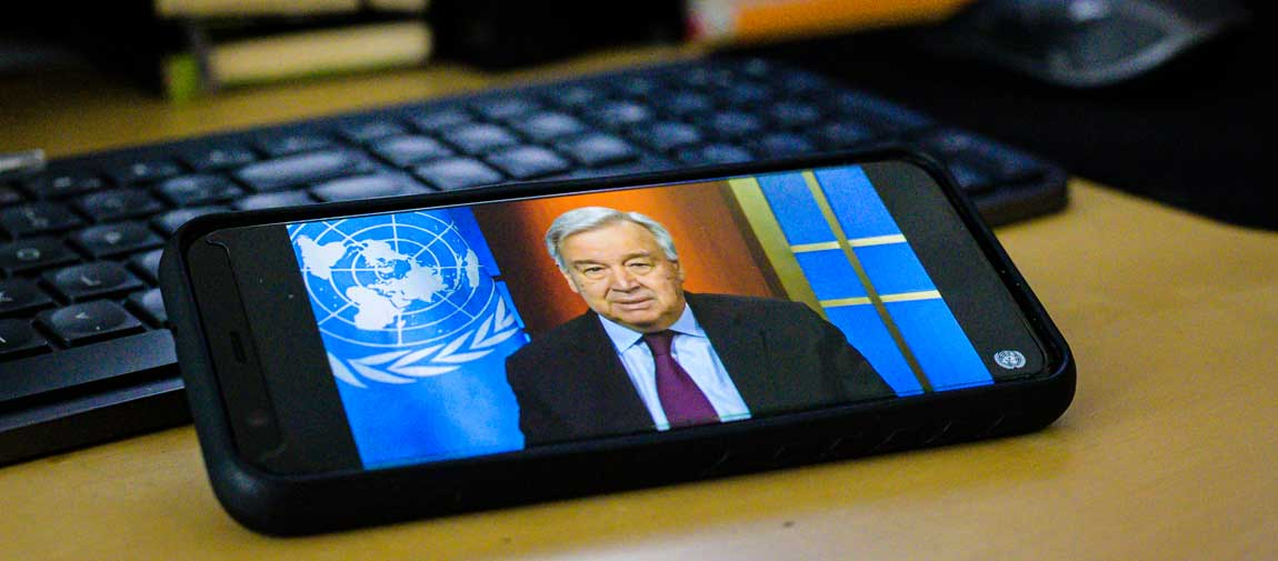 Secretary-General António Guterres holds a virtual press conference on the global COVID-19 crisis. UN Photo/Manuel Elias