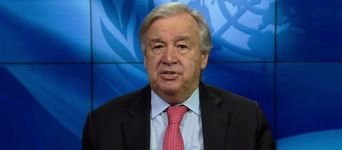 Secretary-General António Guterres delivers video remarks on Policy Brief: COVID-19 and the World of Work. United Nations