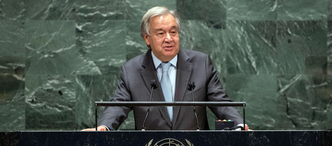 Secretary-General António Guterres addresses the General Debate of the 75th session of the UN General Assembly. UN Photo/Eskinder Debebe