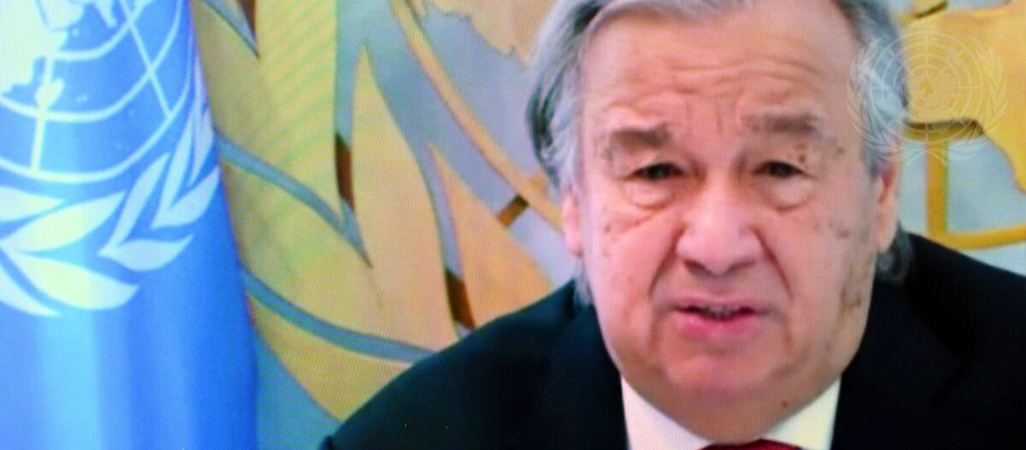 """Secretary-General António Guterres addresses virtual roundtable """"Rebirthing the Global Economy to Deliver Sustainable Development"""". UN Photo/Manuel Elías"""