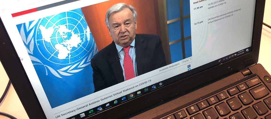 Secretary-General António Guterres appeals for a global ceasefire in a virtual press conference broadcast on UN Web TV. UN News/Daniel Dickenson