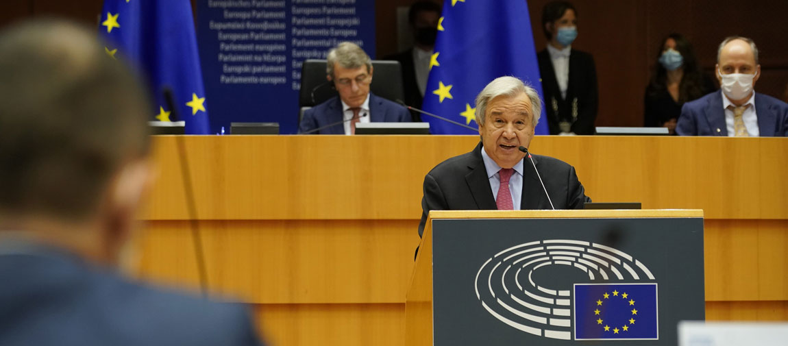 UN Secretary-General António Guterres delivers his remarks at the Plenary Session of the European Parliament in Brussels. © European Union 2021– Source: EP