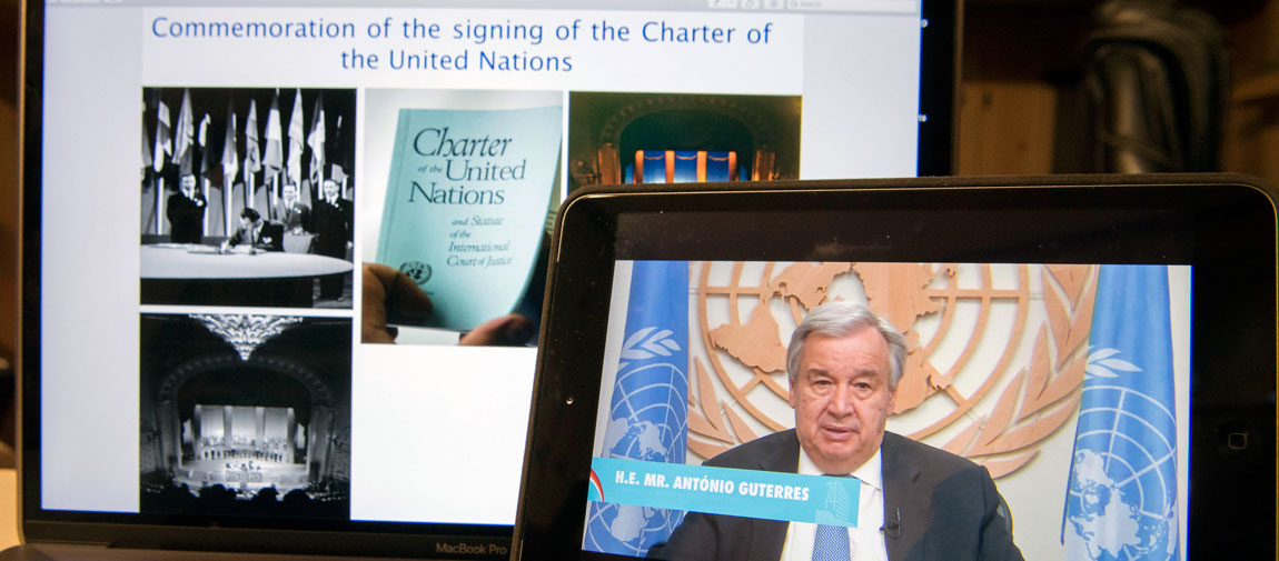 Secretary-General António Guterres addresses the virtual commemoration of the signing of the Charter of the United Nations on the occasion of UN Charter Day. UN Photo/Eskinder Debebe