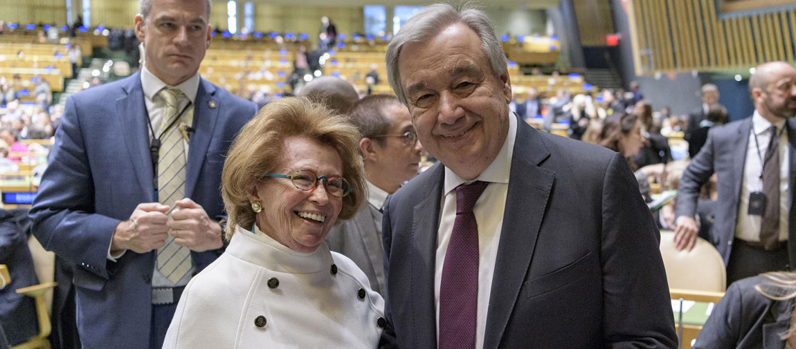Secretary-General António Guterres (right) greets Holocaust survivor Irene Shashar at the United Nations on the occasion of the International Day of Commemoration in Memory of the Victims of the Holocaust. UN Photo/Manuel Elias