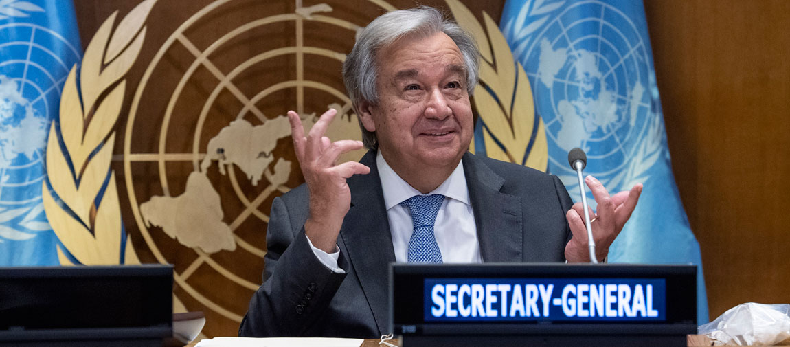 Secretary-General António Guterres addresses the high-level meeting on financing the 2030 Agenda for Sustainable Development in the era of COVID-19 and beyond. UN Photo/Eskinder Debebe