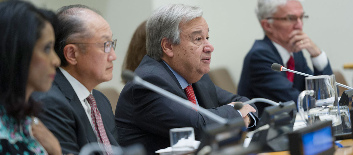 """António Guterres (3rd left) addresses the """"Partnering to Address Acute Food Insecurity"""" event, co-organized by the World Bank and the UN Office for the Coordination of Humanitarian Affairs. UN Photo/Rick Bajornas"""