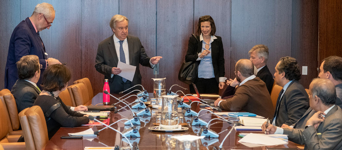 Secretary-General António Guterres (centre) chairs a meeting on the Coronavirus (COVID-19) outbreak, as it relates to UN staff members as well as to coordinate the UN message in regards to the outbreak. UN Photo/Mark Garten
