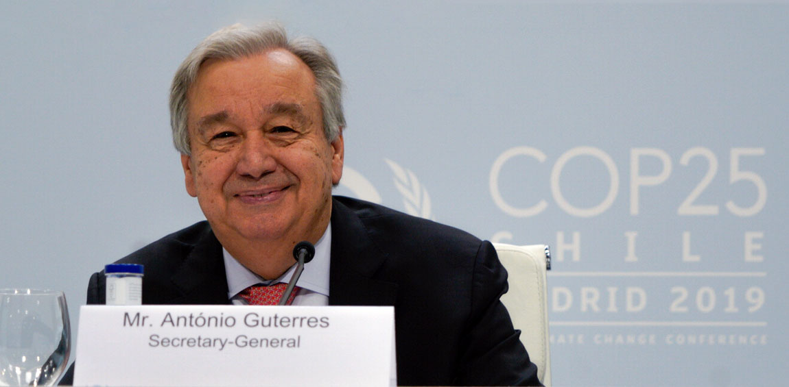 Secretary-General António Guterres briefs journalists at a pre-COP25 UN climate change conference in Madrid. UNFCCC