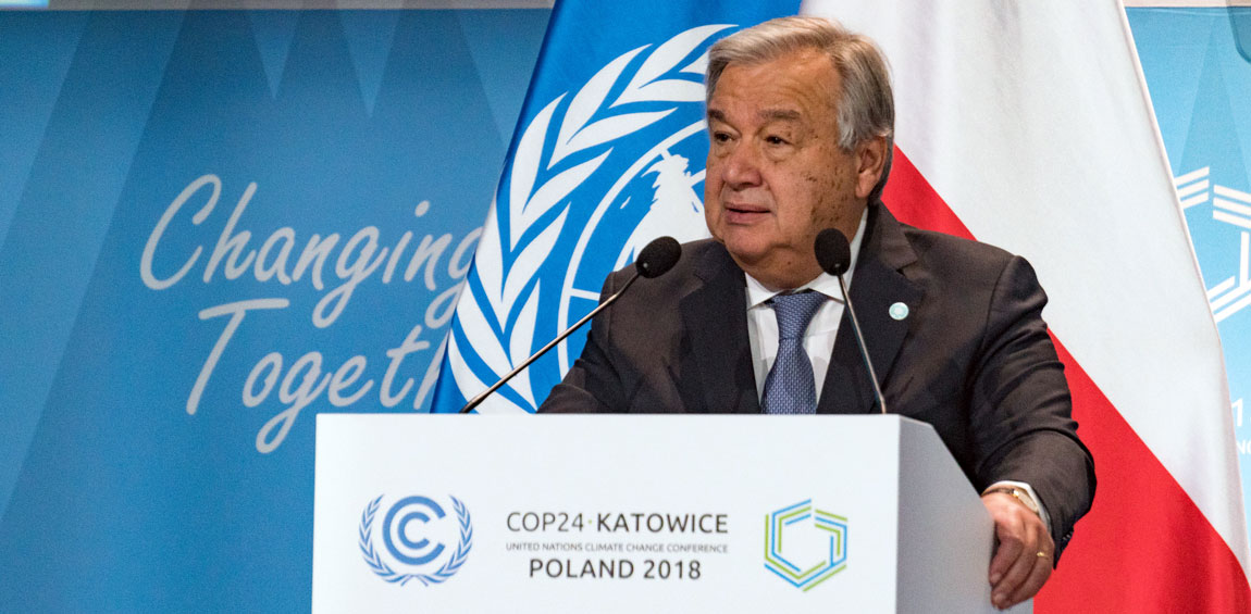 Secretary-General António Guterres addresses the High-Level session of the Climate Change Conference, COP24, in Katowice, Poland. UNFCCC Secretariat