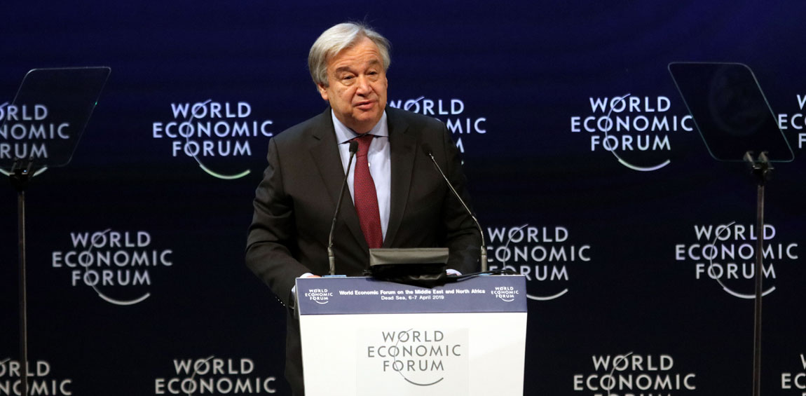 Secretary-General António Guterres addresses the World Economic Forum on the Middle East and North Africa, in Amman, Jordan. UN Photo