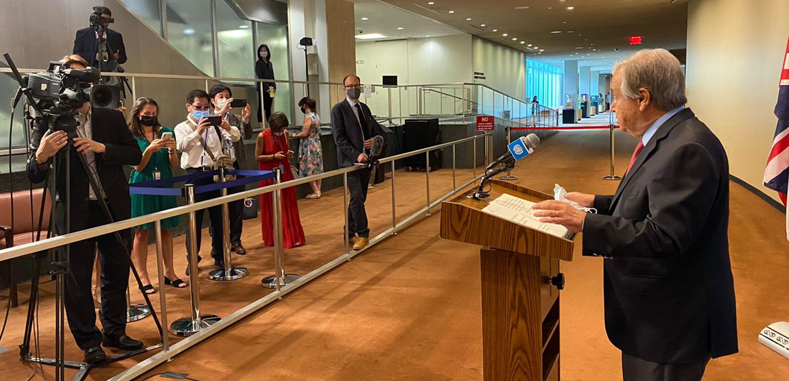 Secretary-General António Guterres briefs reporters on the grave situation in Afghanistan. Photo: United Nations