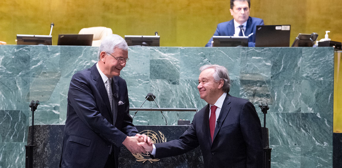 António Guterres (right) is congratulated after taking the oath of office for his second five-year term as Secretary-General of the United Nations. UN Photo/Eskinder Debebe