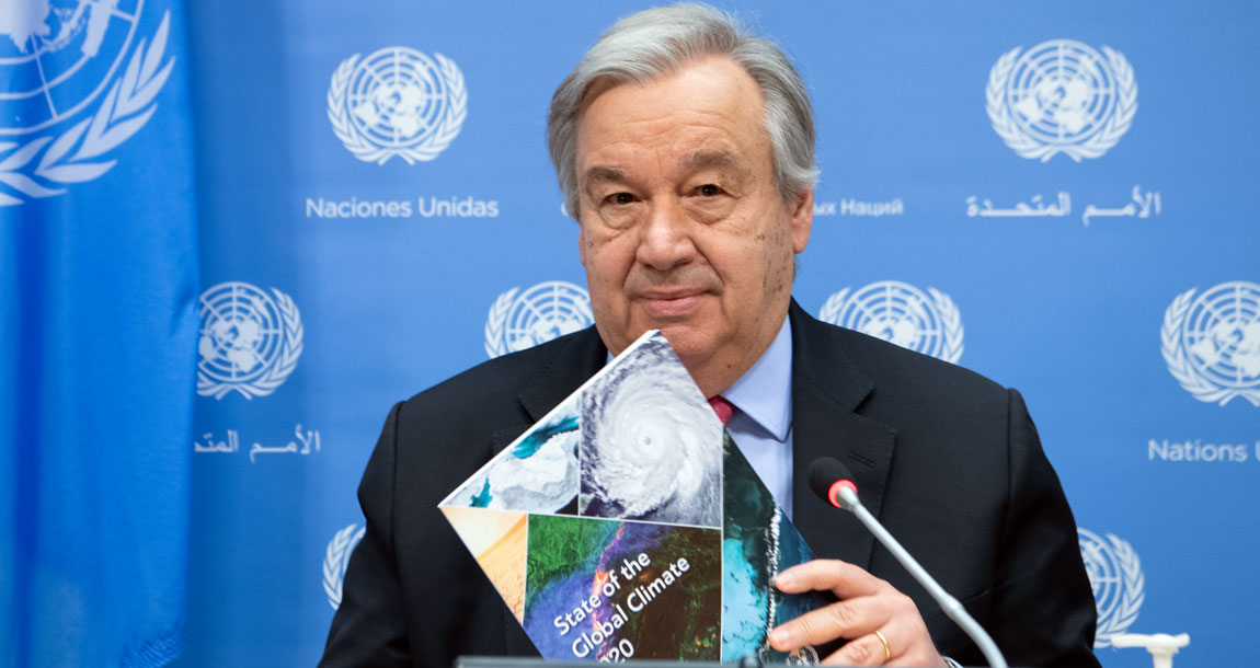 Secretary-General António Guterres holds a joint press conference with Petteri Taalas, Secretary-General of the World Meteorological Organization (WMO), to present the report on the State of the Global Climate in 2020. UN Photo/Eskinder Debebe