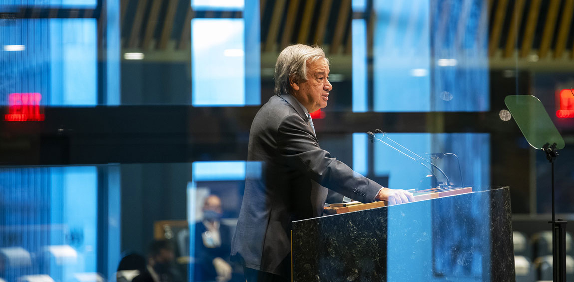 Secretary-General António Guterres addresses the general debate of the General Assembly's seventy-fifth session. UN Photo/Mark Garten