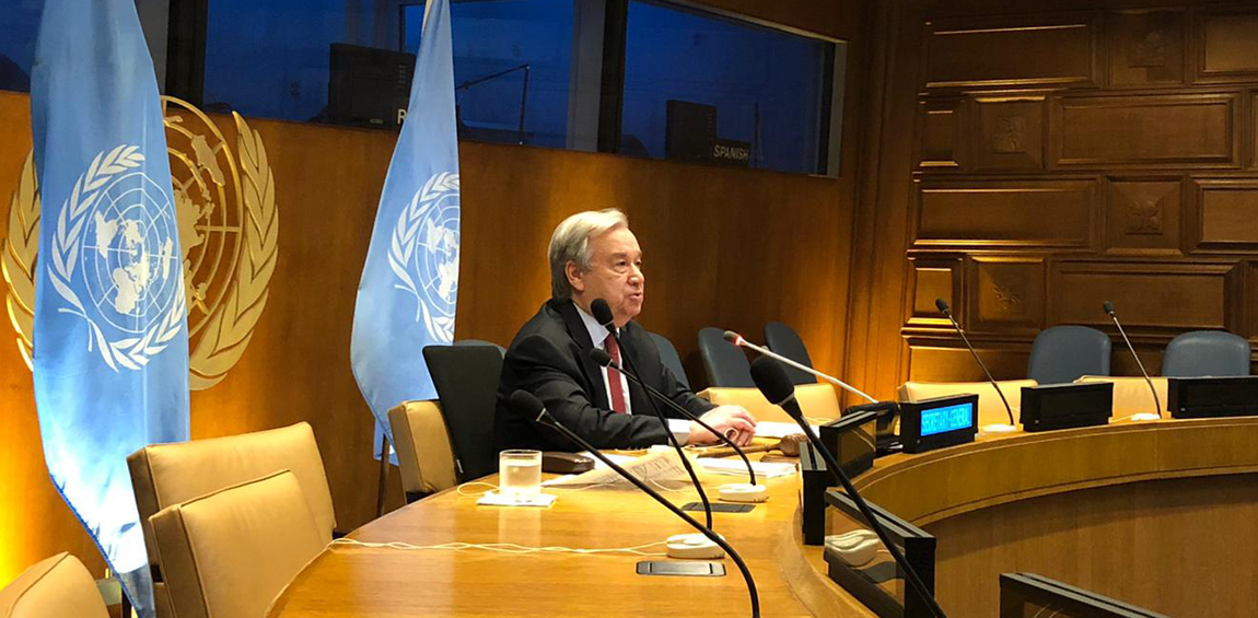 Secretary-General António Guterres delivers welcome remarks to the high-level event on Financing for Development in the Era of COVID-19 and Beyond. Photo: United Nations