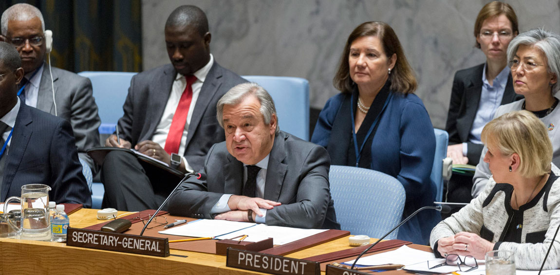Secretary-General António Guterres addresses the Security Council ministerial-level open debate on conflict prevention and sustaining peace. UN Photo/Rick Bajornas