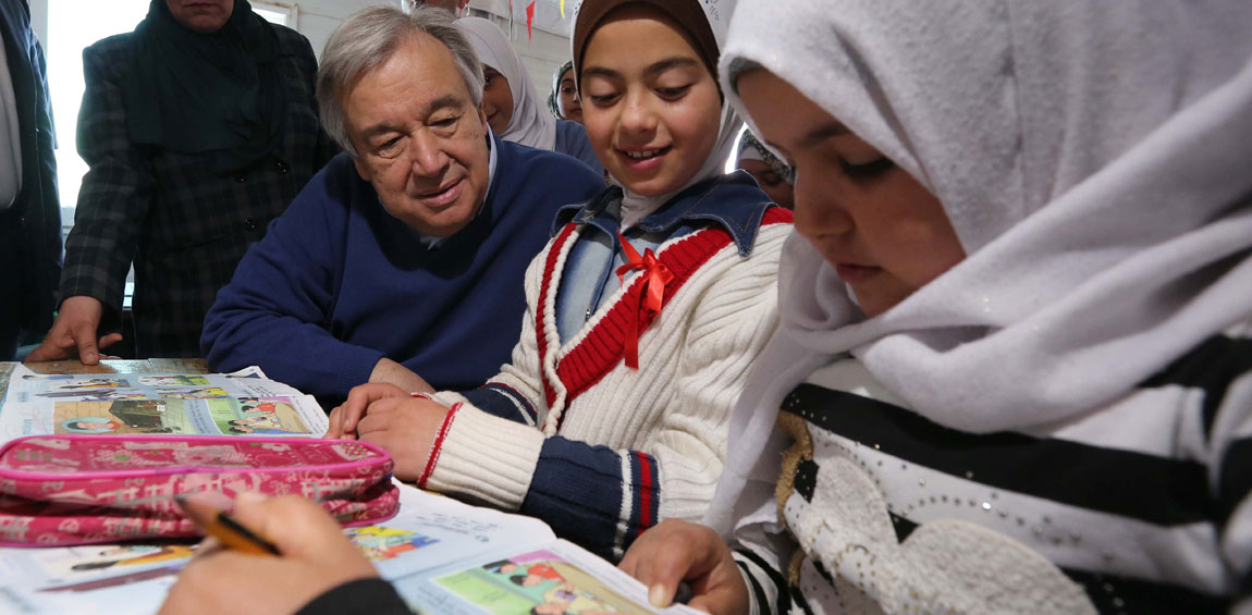 Secretary-General António Guterres speaks with school girls during a visit to Zaatari refugee camp in Jordan where there are some 27,000 school-aged children in the camp. UN Photo/Sahem Rababah