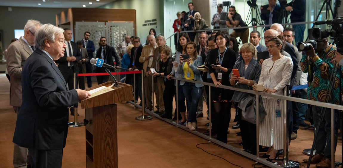 Secretary-General António Guterres briefs reporters on the recent demonstrations taking place around the world. UN Photo/Eskinder Debebe