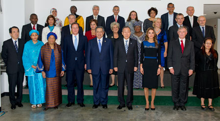 Secretary-General Ban Ki-moon in a group photo with members of his High-Level Panel on the Post-2015 Development Agenda