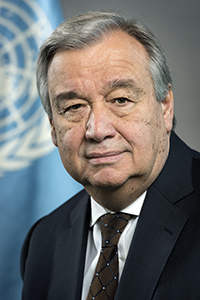 Portrait of United Nations Secretary-General António Guterres, at UN Headquarters in New York