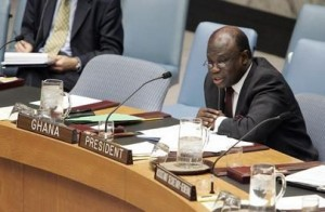 Permanent Representative of Ghana to the United Nations and President of the Security Council, delivers his statement after the Security Council voted to create a United Nations peacekeeping force in Sudan's Darfur region.