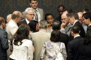 Members of the Security Council gather informally discuss, prior to going into their consultation meeting.