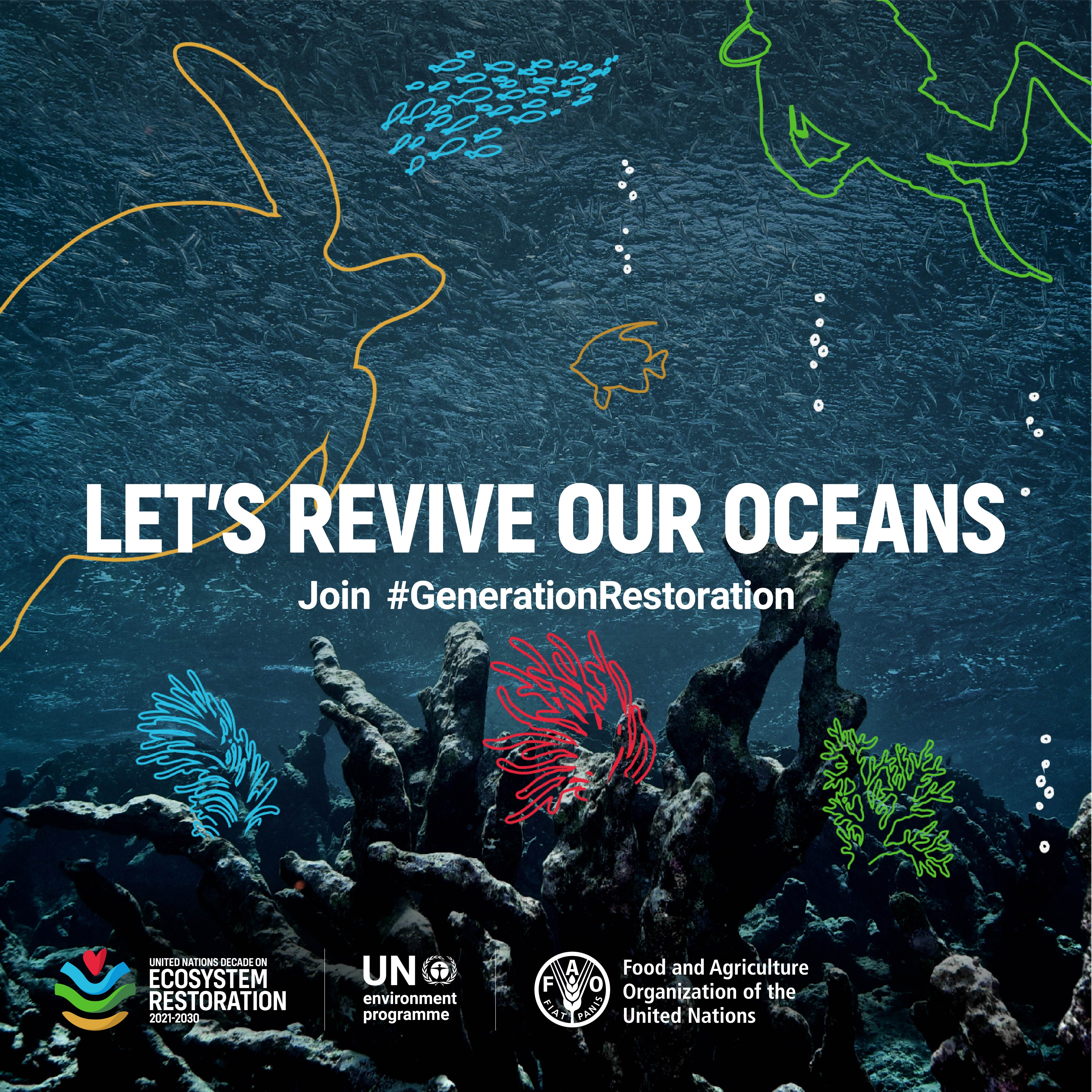 2021 WED poster that reads: Let's revive our oceans