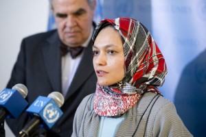 "Shadia Marhaban, President of the Aceh Women's League (LINA), speaks to reporters after participating in a closed, informal (known as ""Arria Formula"") meeting of the Security Council commemorating International Women's Day, on the role of women in mediation and conflict resolution."