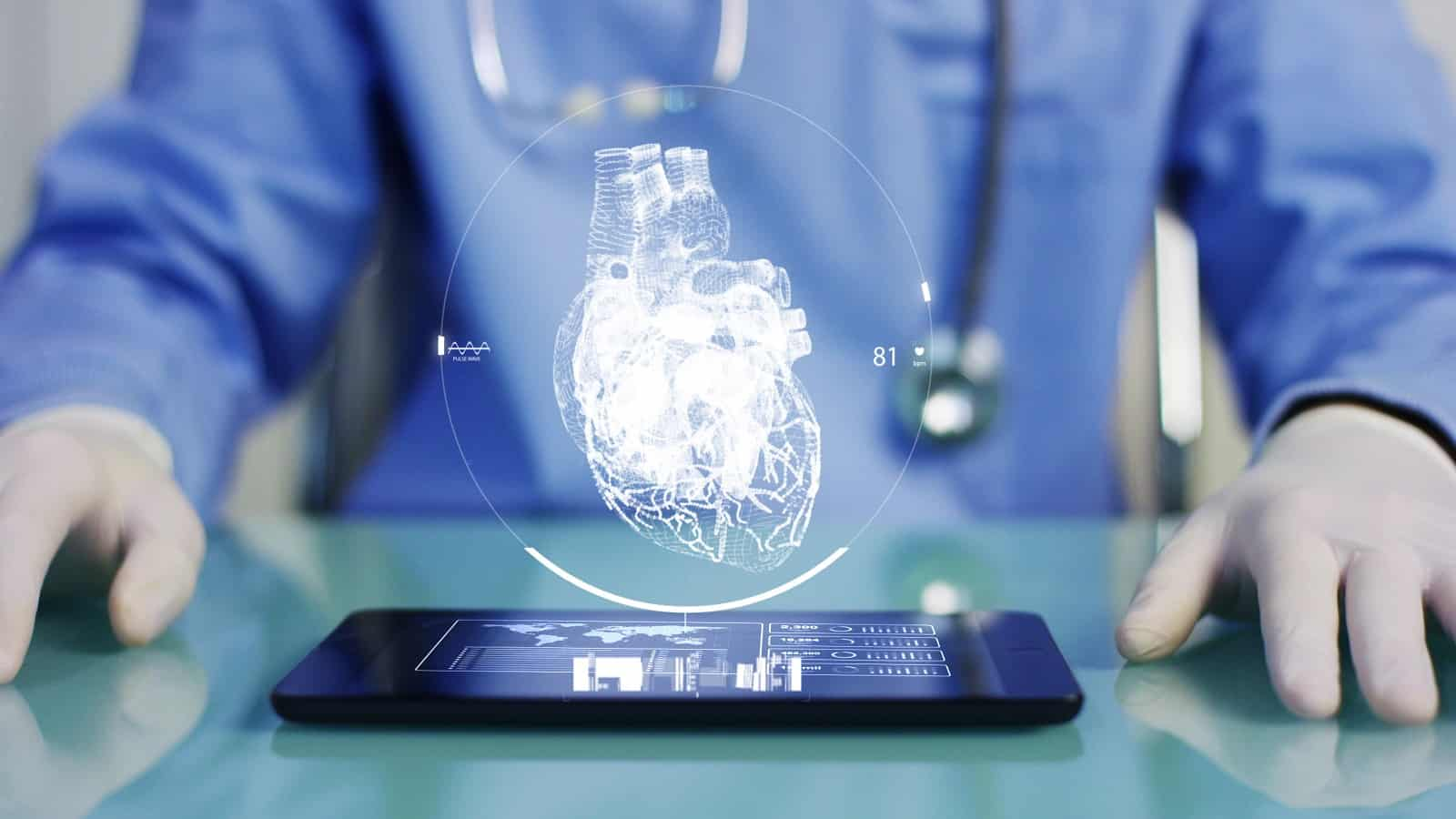 hologram of human heart over mobile device