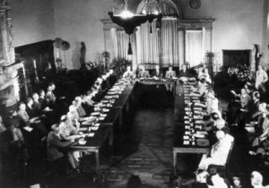 Representatives of the Soviet Union, the United Kingdom and the United States meeting in the opening session of the Conference on Security Organization for Peace in the Post-War World.