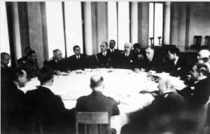 Leaders of the major allied powers of World War II meeting at Yalta in the Russian Crimea on 12 February 1945, to decide on military plans for the final defeat of Germany.