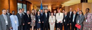 Secretary-General Ban Ki-moon (front, centre) poses for a group photo with representatives of the Group of 77