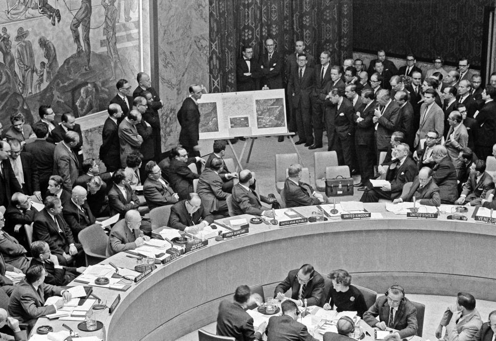 Exhibits of photographs and maps set up on two easels at the back of the Security Council Chamber. The display was set up by Ambassador Adlai E. Stevenson of the United States, which he said showed installations of ballistic missile sites in Cuba