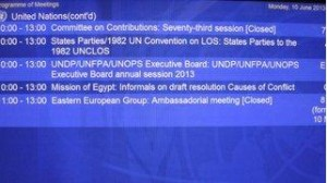 Mission of Egypt Informals on draft resolution posted on screens in UNHQ