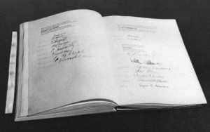 The United Nations Charter open to the signatory page