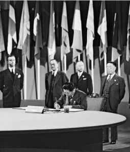 Delegate from China signing the United Nations Charter in San Francisco, CA
