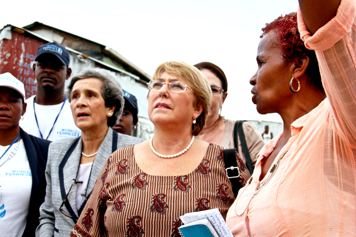 Michelle Bachelet on a visit in Haiti.