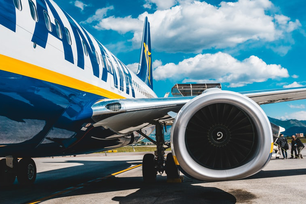 A Ryanair plane at an airport in Italy