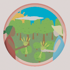 An illustration of two people holding wheat with trees behind