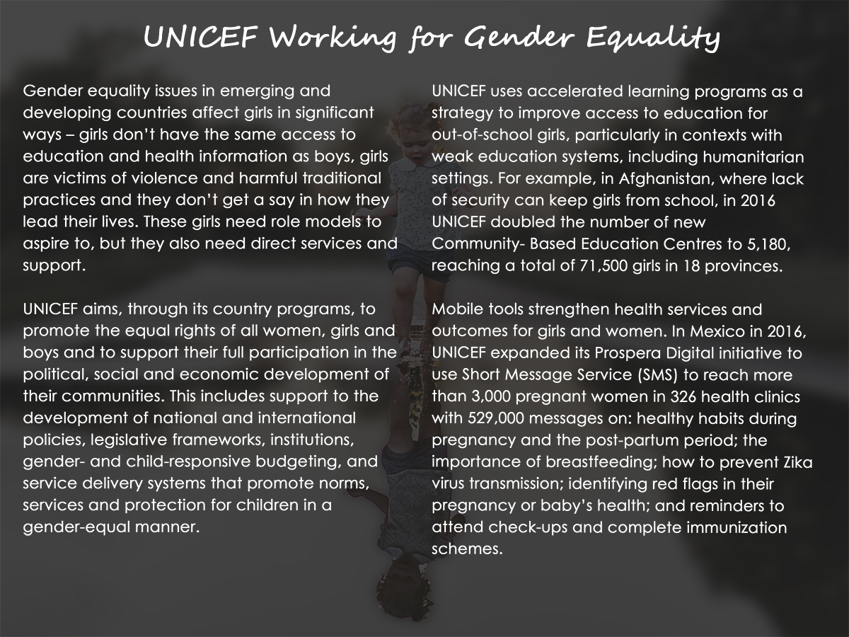 UNICEF Working for Gender Equality
