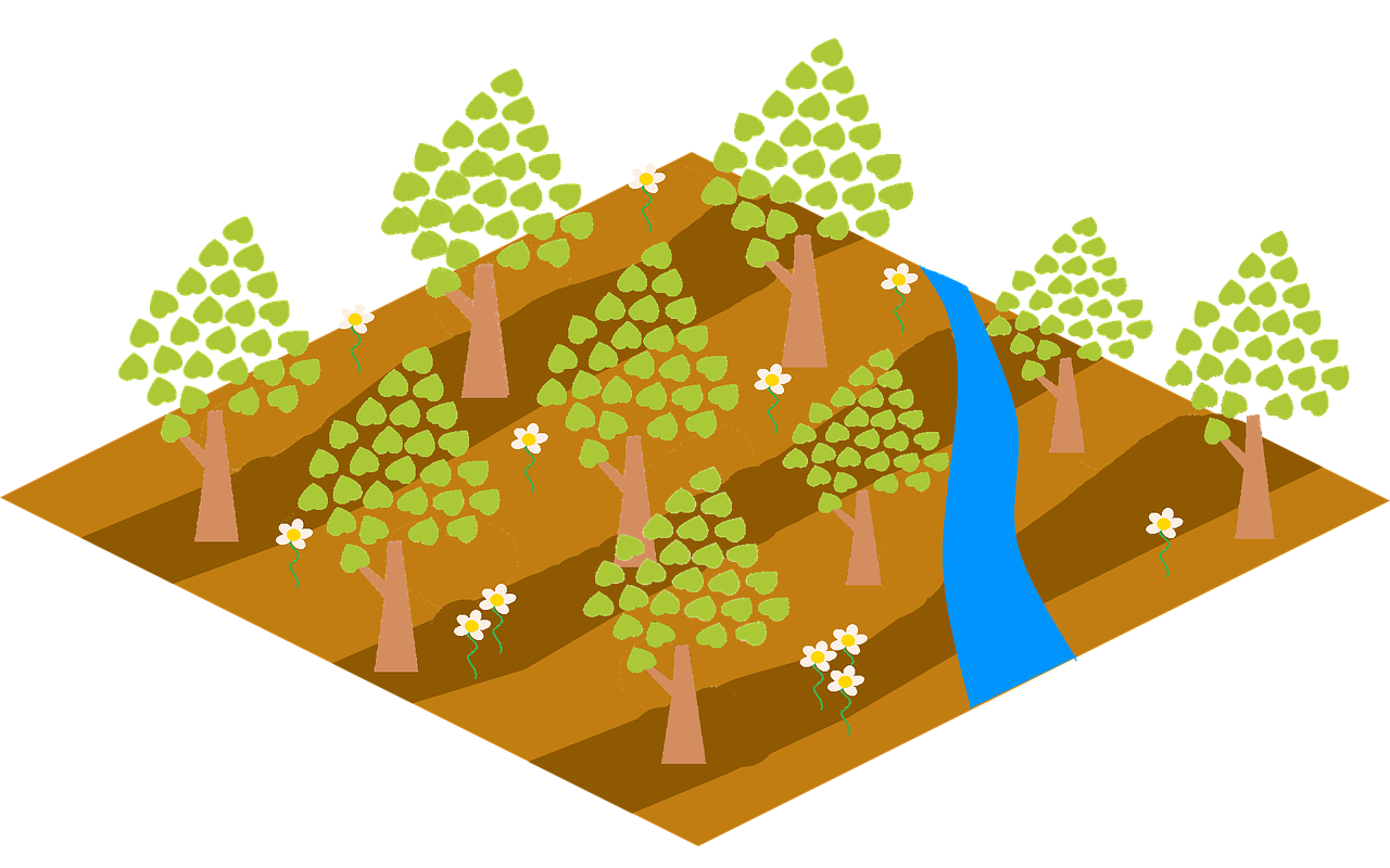 illustration of a plane of desert with trees and a river