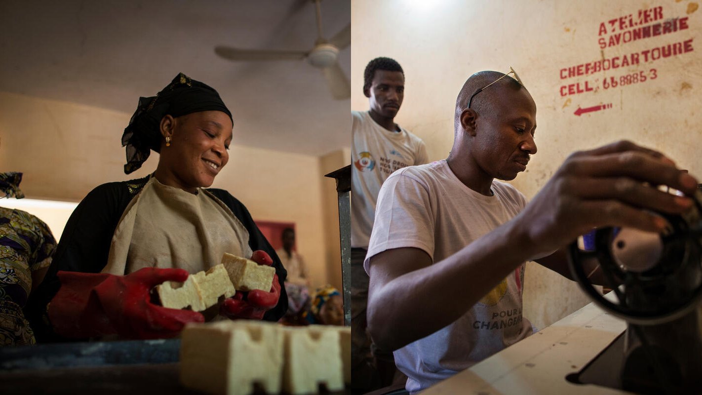 Two photographs combined, showing a woman at left and a man at right working to produce goods in Mali.