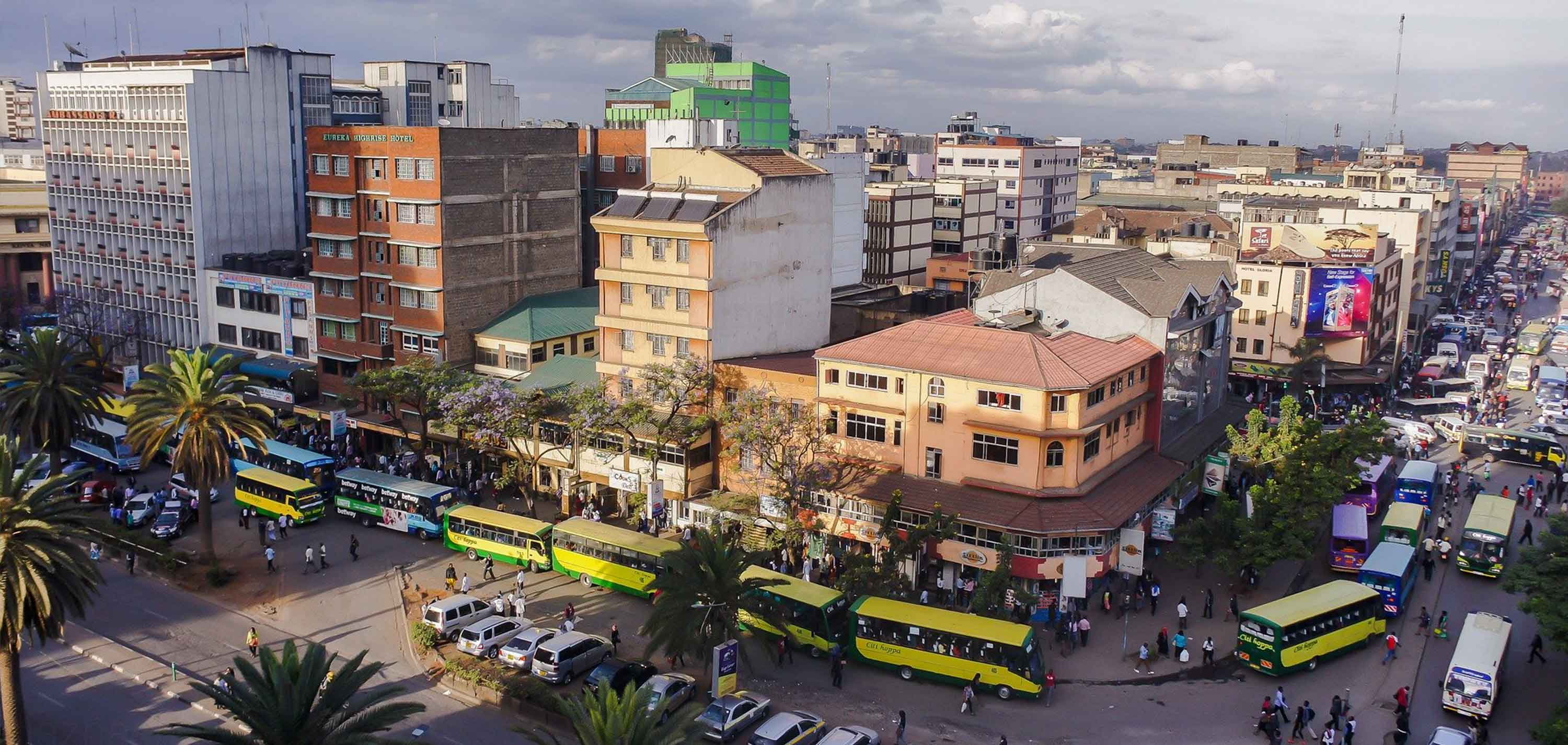 Areal view of a busy street in Nairobi.