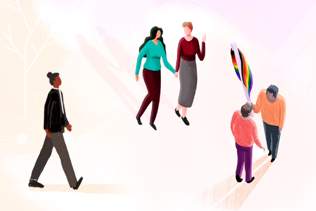 Illustration of people: two women holding hands, two people talking and holding a rainbow flag, one person walking alone.