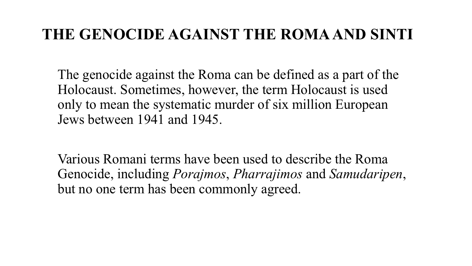 Roma definitions