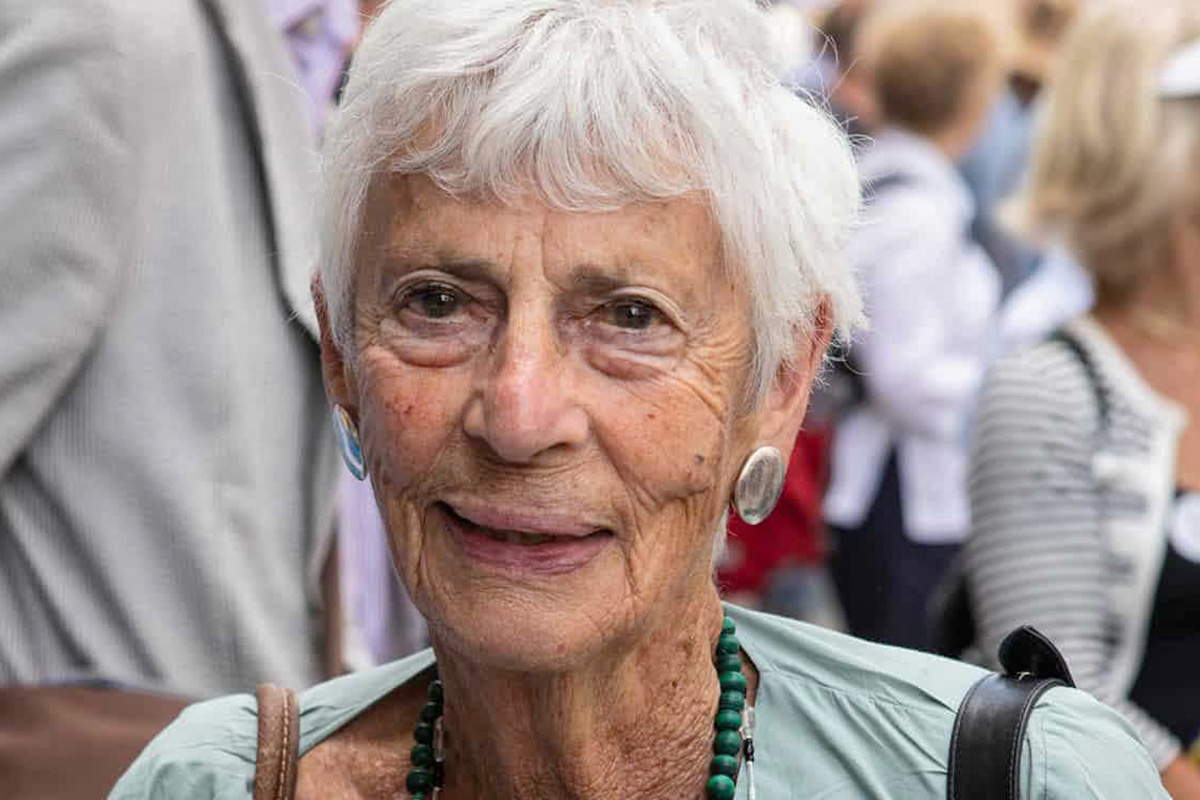 close-up of an older lady with gray hair
