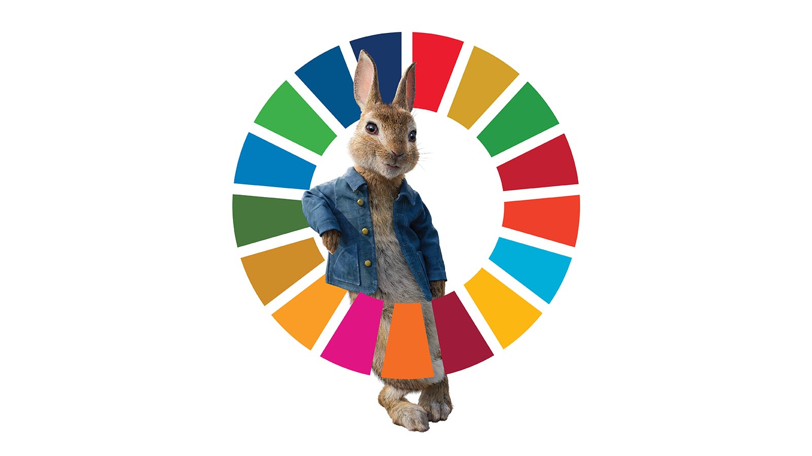 Animated 3D rabbit poses in front of SDG wheel