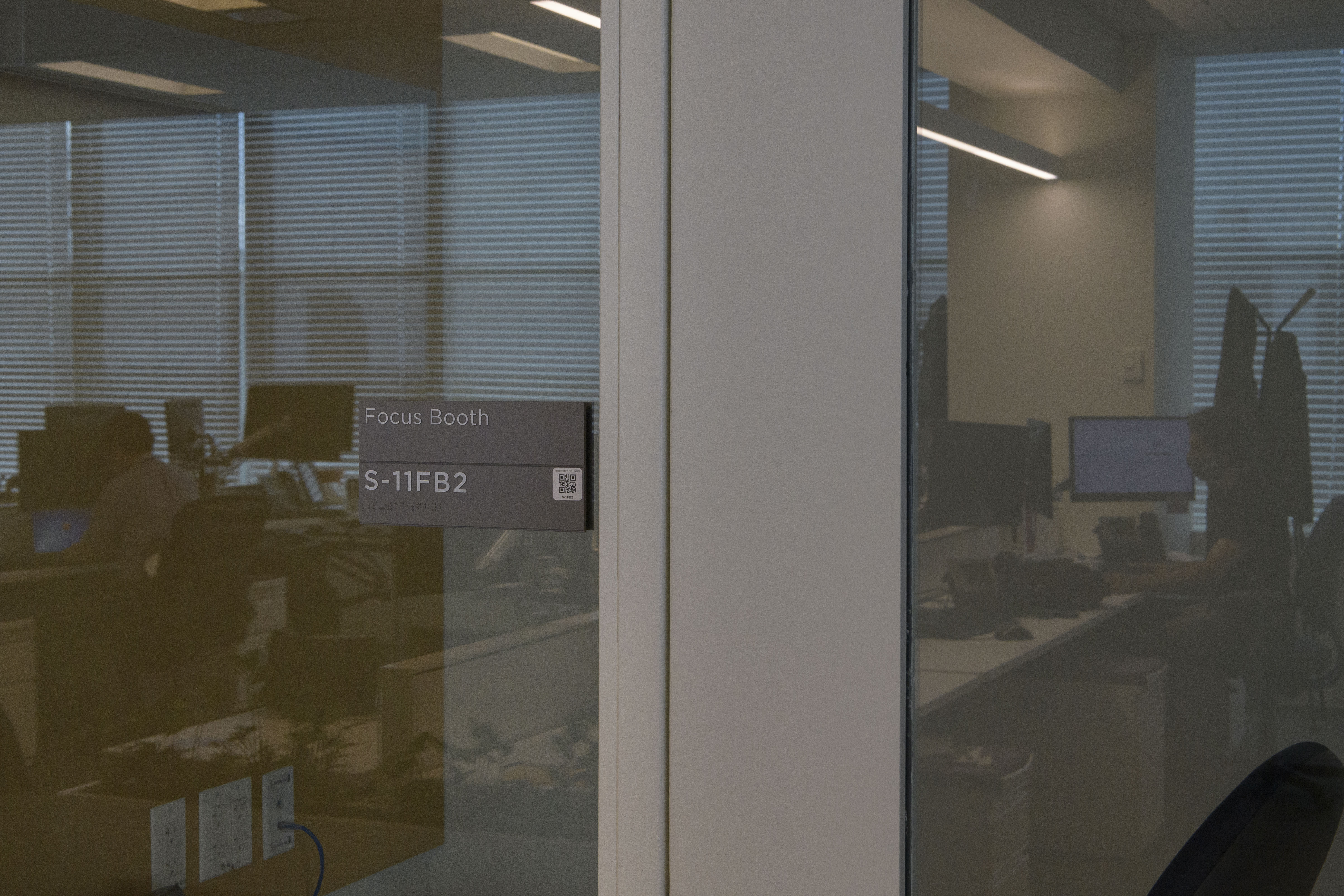 A focus space in an open office space.
