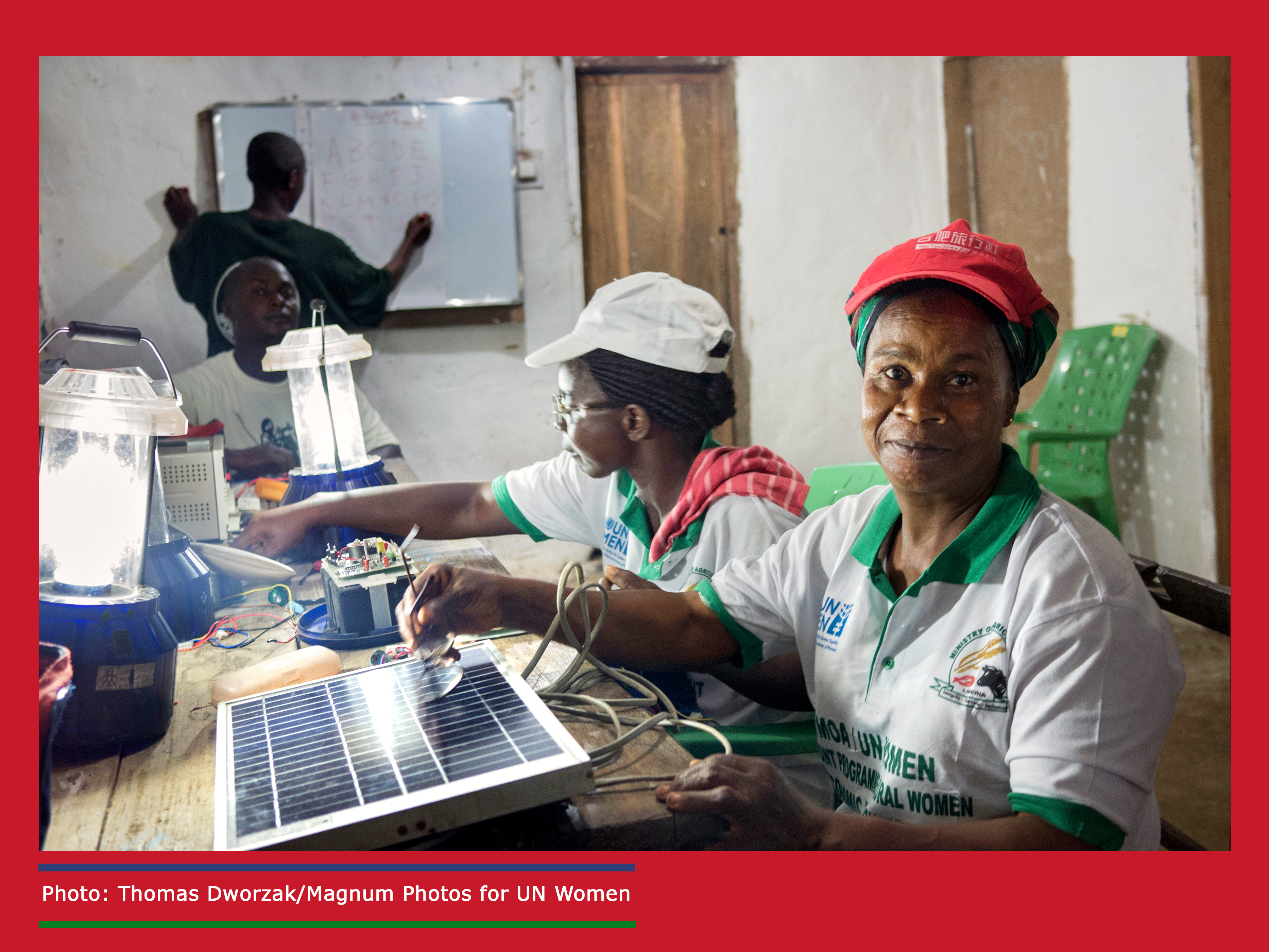 Musu Junius and Marie Weeks attended Barefoot College solar engineer training in India