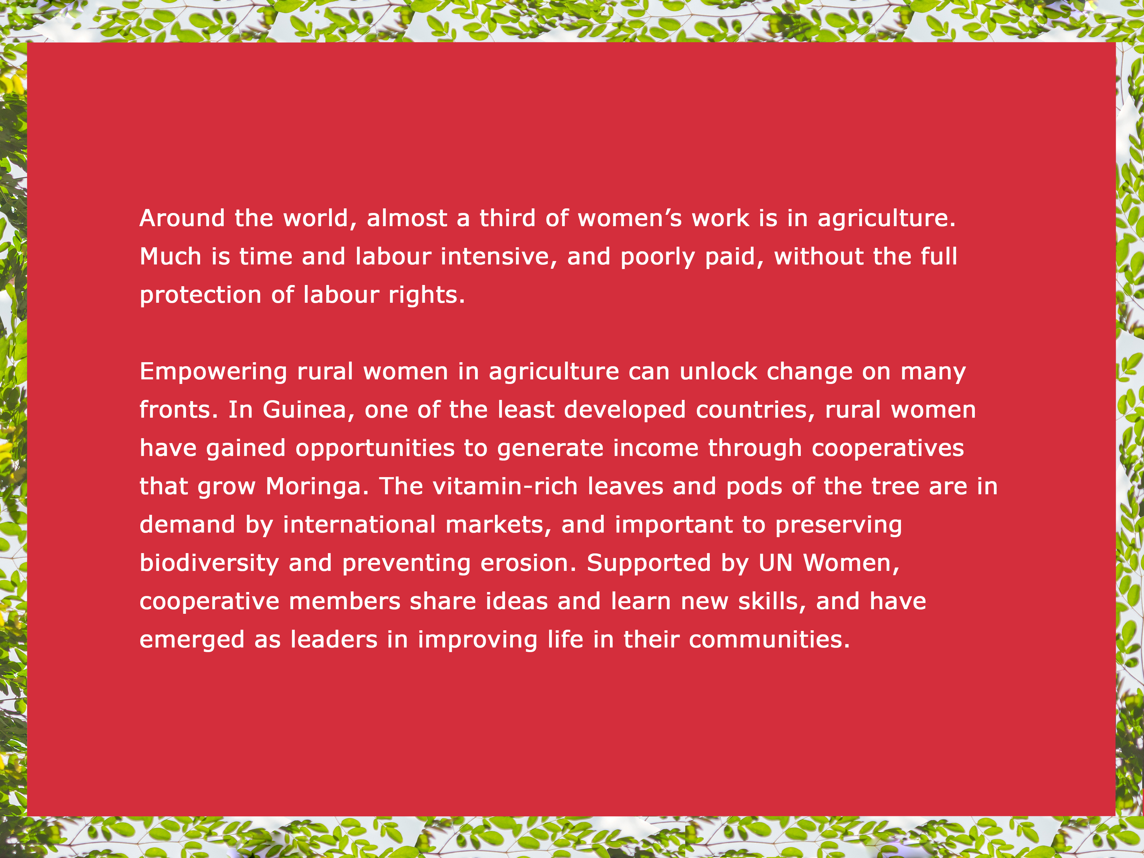 Around the world, almost a third of women's work is in agriculture.